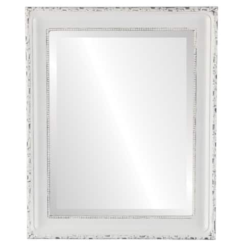 Kensington Framed Rectangle Mirror in Linen White