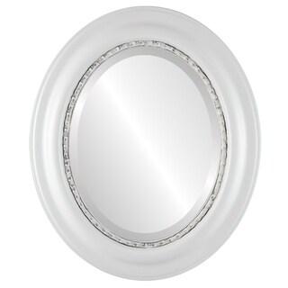 Chicago Framed Oval Mirror in Linen White