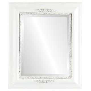 Boston Framed Rectangle Mirror in Linen White