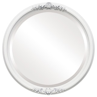 Contessa Framed Round Mirror in Linen White