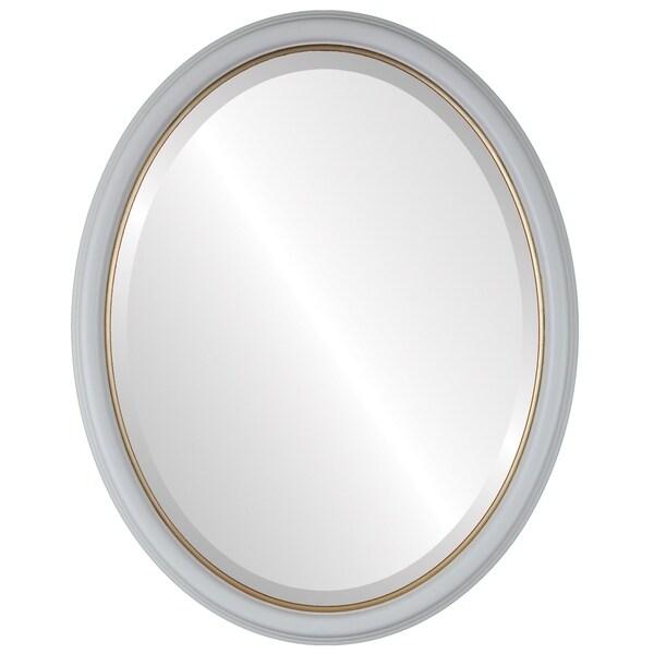 Hamilton Framed Oval Mirror in Linen White Lip