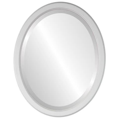 Toronto Framed Oval Mirror in Linen White
