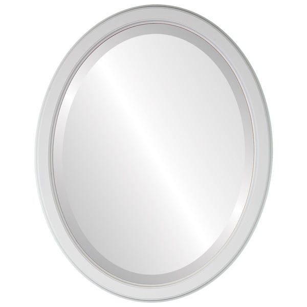 Toronto Framed Oval Mirror in Linen White