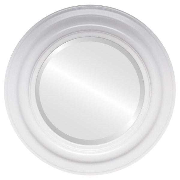 Lancaster Framed Round Mirror in Linen White