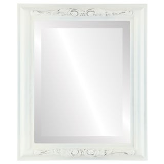 Florence Framed Rectangle Mirror in Linen White