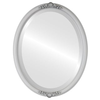 Contessa Framed Oval Mirror in Linen White