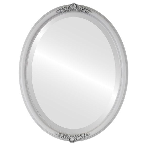 Contessa Framed Oval Mirror in Linen White