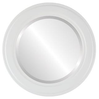 Wright Framed Round Mirror in Linen White