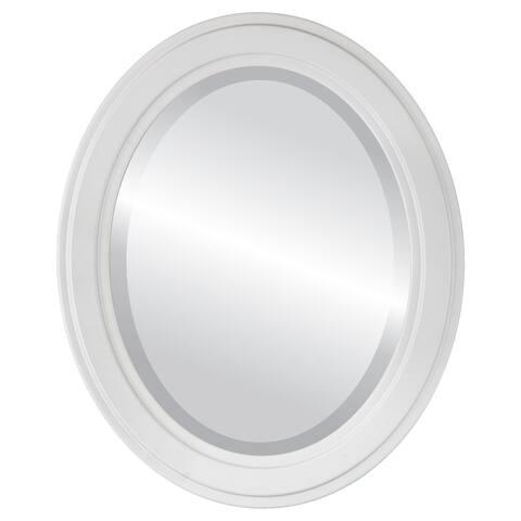 Wright Framed Oval Mirror in Linen White