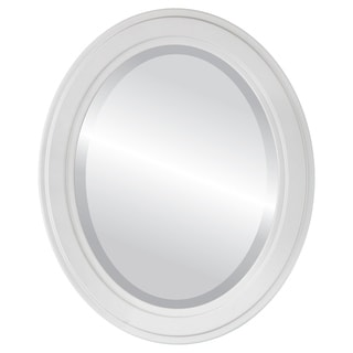 Wright Framed Oval Mirror in Linen White