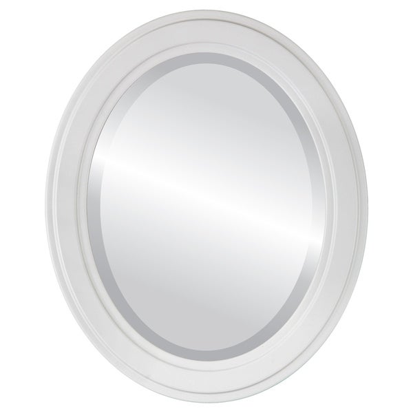 Wright Framed Oval Mirror in Linen White. Opens flyout.