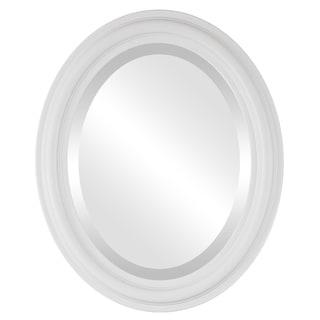 Philadelphia Framed Oval Mirror in Linen White