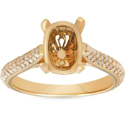 Pompeii3 18k Yellow Gold 5/8ct TDW Diamond Oval Engagement Semi Mount Micropave Vintage Ring Setting (F/VVS) - White
