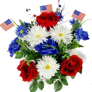 18 Stems Faux Peony Daisy fillers Mixed Flower Bush w/American Flags