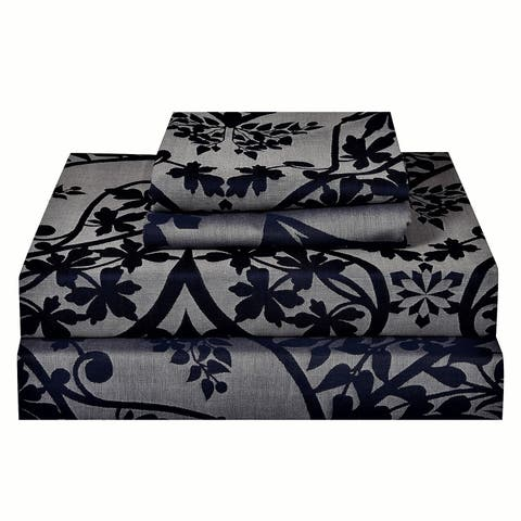 Just Linen 300 Thread Count Cotton Genuine Jacquard Damask Bedding Sheet Set with Deep Pocketed Fitted Sheet