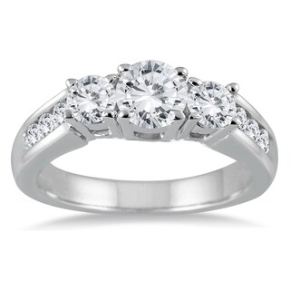 1 1/2 Carat TW Diamond Three Stone Ring in 10K White Gold