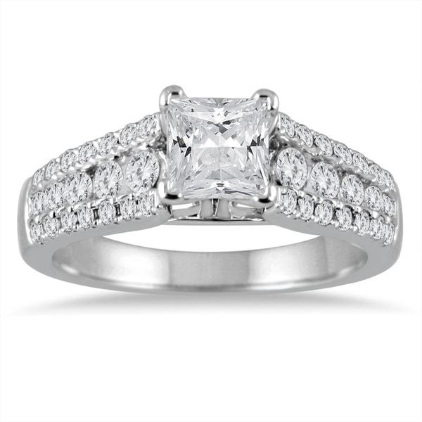 Diamond Wedding Band 1 5 Ct Tw Princess Cut 14k White Gold: Shop 1 5/8 Carat TW Princess Cut Diamond Engagement Ring