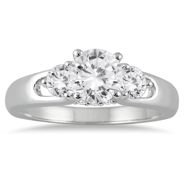 Diamond Engagement Ring 3 Carats Tw 14k White Gold: Shop 1 Carat TW Diamond Three Stone Engagement Ring In 14K