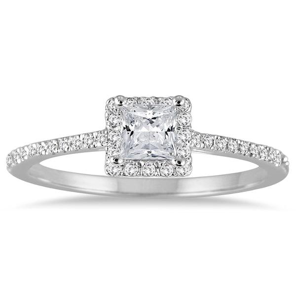 Diamond Wedding Band 1 5 Ct Tw Princess Cut 14k White Gold: Shop 1/2 Carat TW Princess Cut Diamond Engagement Ring In