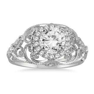 AGS Certified 1 1/5 Carat TW Diamond Antique Engraved Engagement Ring in 14K White Gold (J-K Color, I2-I3 Clarity)