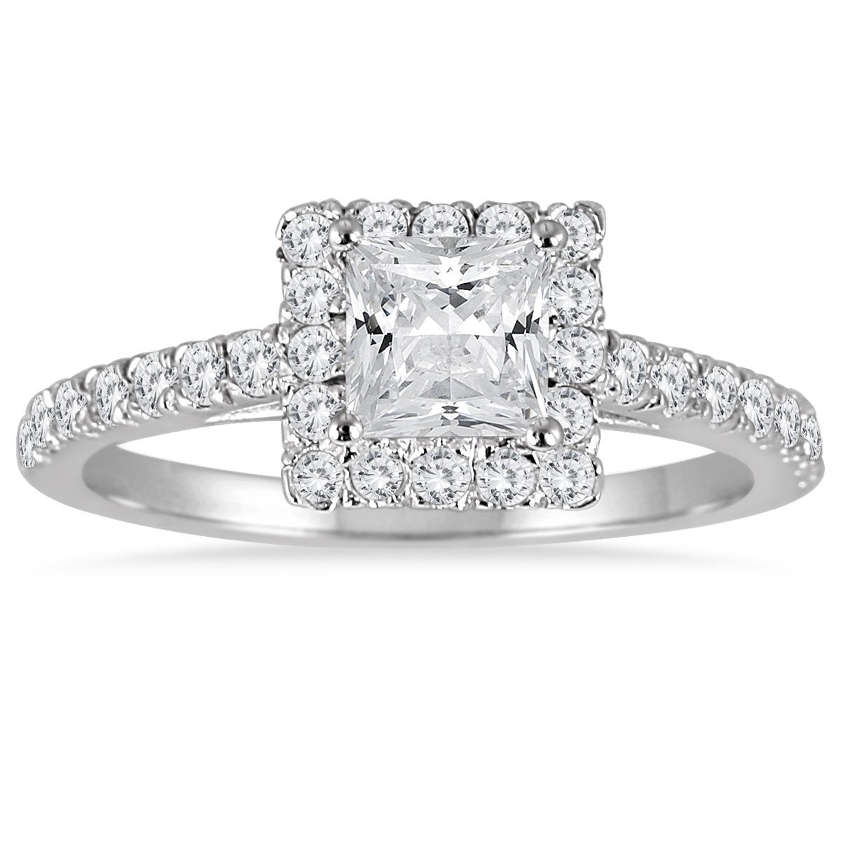 1 Carat Tw Princess Cut Diamond Halo Engagement Ring In 14k White Gold Overstock 20593687
