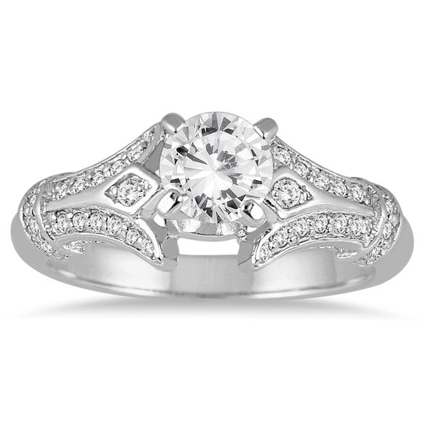 Shop Asg Certified  Carat Diamond En Ement Ring In 14k White Gold J K Color I2 I3 Clarity On Sale Free Shipping Today Overstock Com