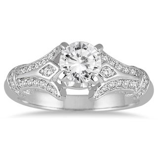ASG Certified 1 1/10 Carat Diamond Engagement Ring in 14K White Gold (J-K Color, I2-I3 Clarity)