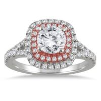 AGS Certified 1 1/2 Carat TW Diamond Halo Engagement Ring in 14K Rose and White Gold (J-K Color, I2-I3 Clarity)