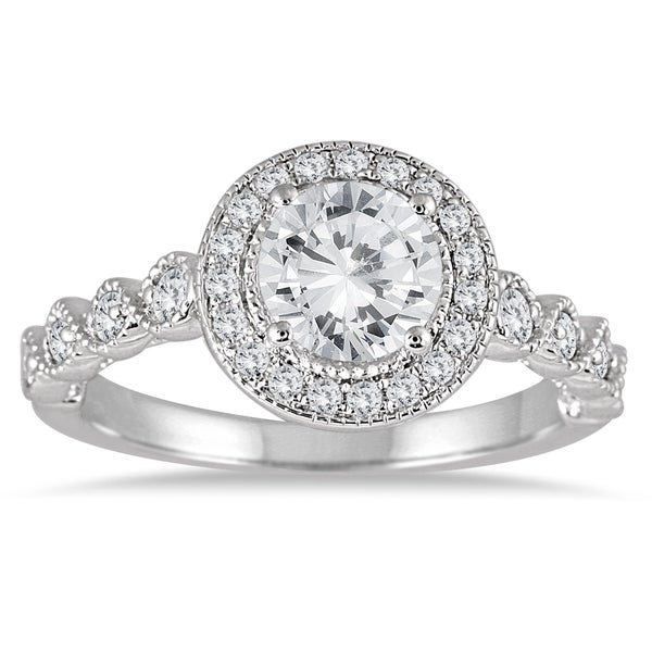 Diamond Engagement Ring 3 Carats Tw 14k White Gold: Shop AGS Certified 1 1/3 Carat TW Diamond Halo Antique