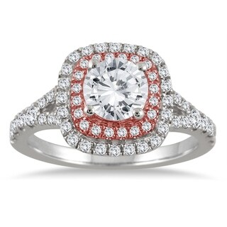 AGS Certified 1 1/2 Carat TW Diamond Halo Engagement Ring in 14K Rose and White Gold (H-I Color, I1-I2 Clarity)