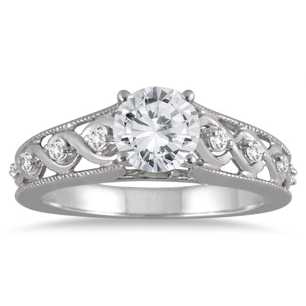 Diamond Engagement Ring 3 Carats Tw 14k White Gold: Shop AGS Certified 1 1/10 Carat TW Antique Diamond