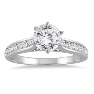 AGS Certified 1 Carat TW Diamond Engagement Ring In 14K White Gold I J Color I2 I3 Clarity