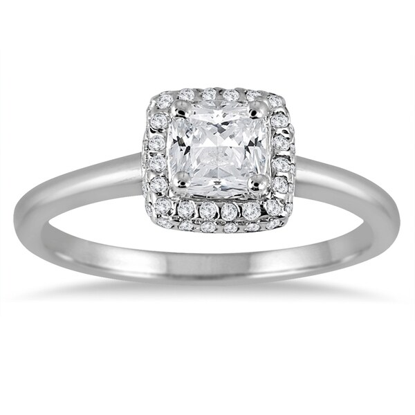 Diamond Engagement Ring 3 Carats Tw 14k White Gold: Shop 3/4 Carat TW Cushion Diamond Halo Engagement Ring In