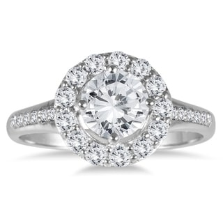 AGS Certified 1 Carat TW Diamond Halo Engagement Ring In 14K White Gold J K Color I2 I3 Clarity