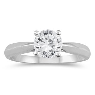 AGS Certified 3/4 Carat TW Round Diamond Solitaire Ring in 14K White Gold (J-K Color, I2-I3 Clarity)