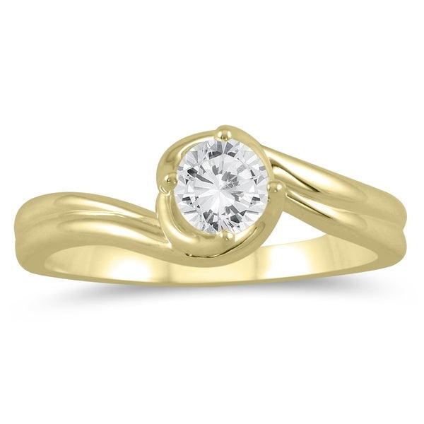 30673ca1fcfc0 1/2 Carat Twisting Wave Diamond Solitaire Ring in 10K Yellow Gold