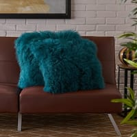 Zally Square Shaggy Fur Pillow (Set of 2) by Christopher Knight Home