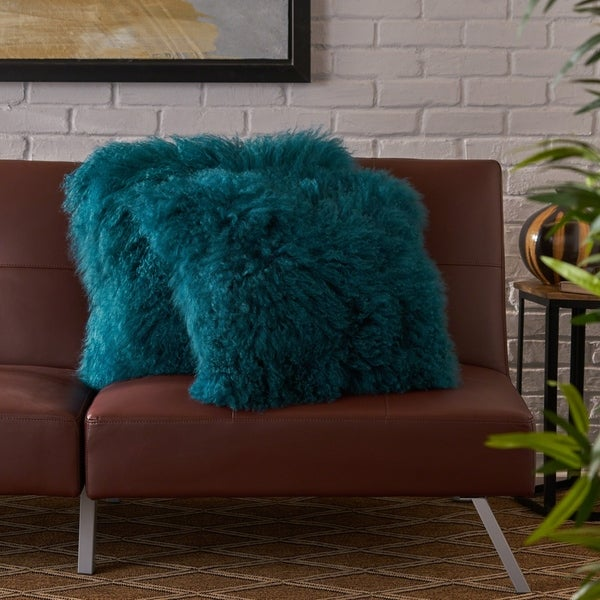 Zally Glam Shaggy Ombre Lamb Fur 20-Inch Throw Pillows (Set of 2) by Christopher Knight Home