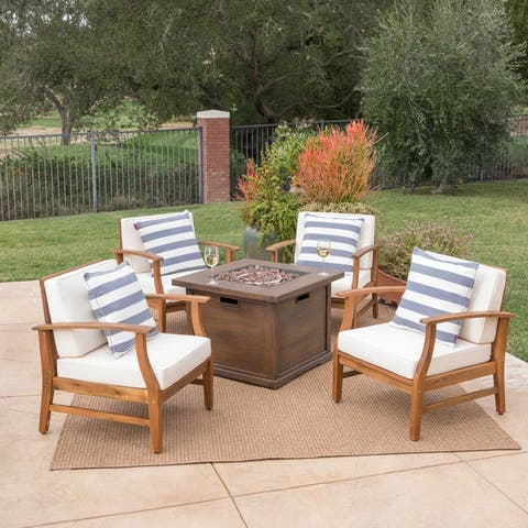 Havana Outdoor 4-seater Wood Chat Set with Fire Table by Christopher Knight Home