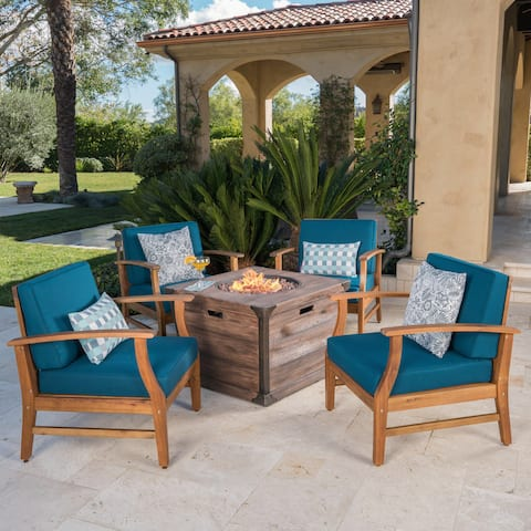 Mark Outdoor 4-seater Wood Chat Set with Fire Table by Christopher Knight Home
