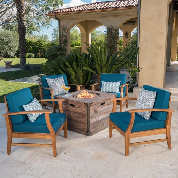 Mark Outdoor 4-seater Wood Chat Set with Fire Table by Christopher Knight Home. Opens flyout.