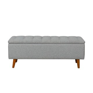 HomePop Arlington Storage Bench with Button Tufting - Light Gray