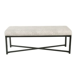 HomePop Large Rectangle Bench with Metal Base - Gray and Cream Vintage Stencil