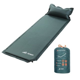 Self-Inflating Camping Sleeping Pad with Inflatable Pillow, Green
