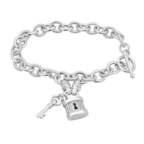 Divina Sterling Silver 1/6ct TDW Lock and Key Toggle Bracelet