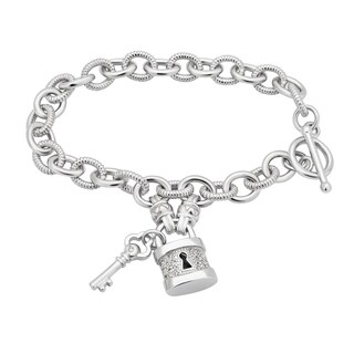 Divina Sterling Silver 1/6ct TDW Lock and Key Toggle Bracelet