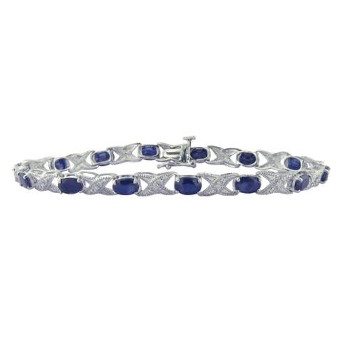 Divina Sterling Silver Sapphire and Diamond Accent Bracelet - n/a