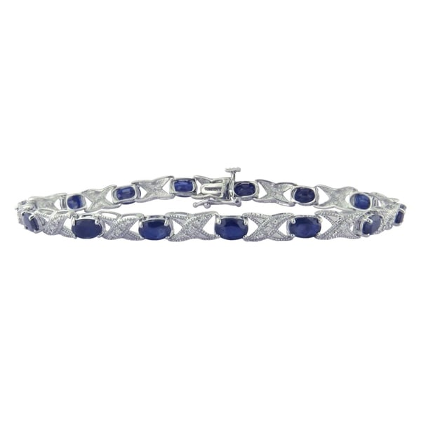 Divina Sterling Silver Sapphire and Diamond Accent Bracelet - n/a. Opens flyout.