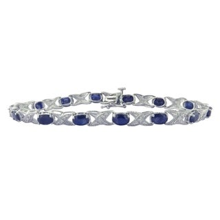 Divina Sterling Silver Sapphire and Diamond Accent Bracelet