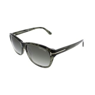 Tom Ford Wrap TF 396 London 20B Women Olive Havana Frame Grey Gradient Lens Sunglasses